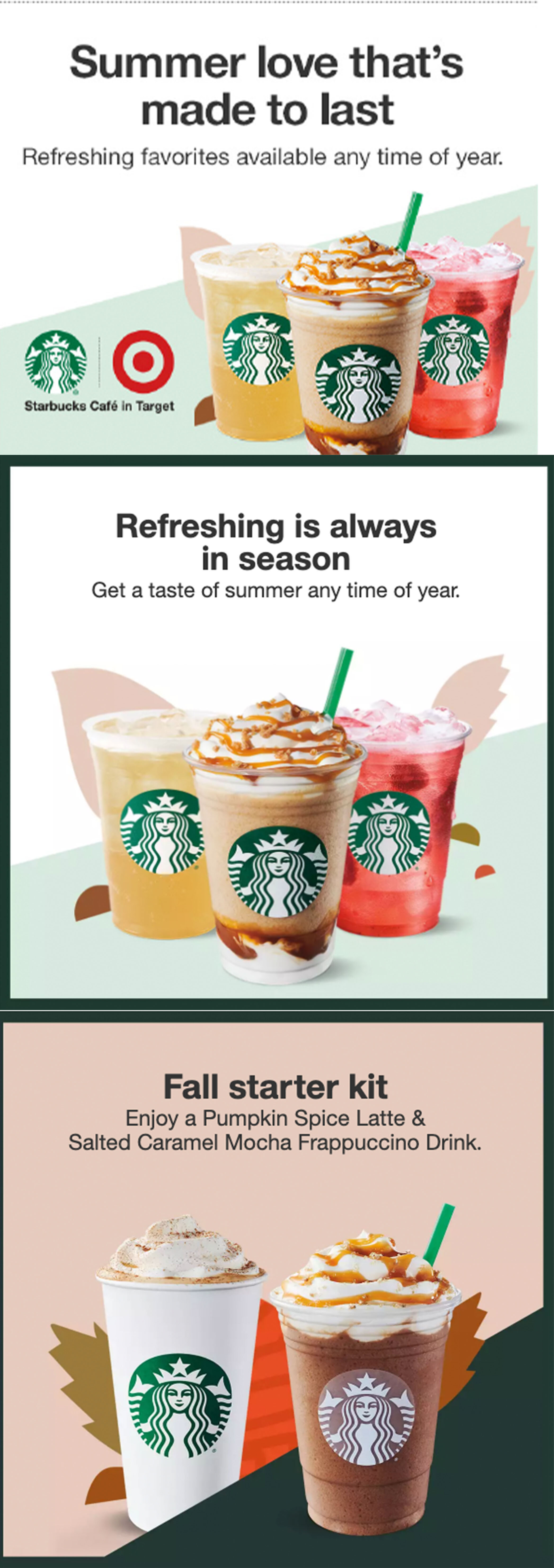 Created a wide variety of written copy for seasonal promotions on the brand page for Starbucks Cafes in Target stores.