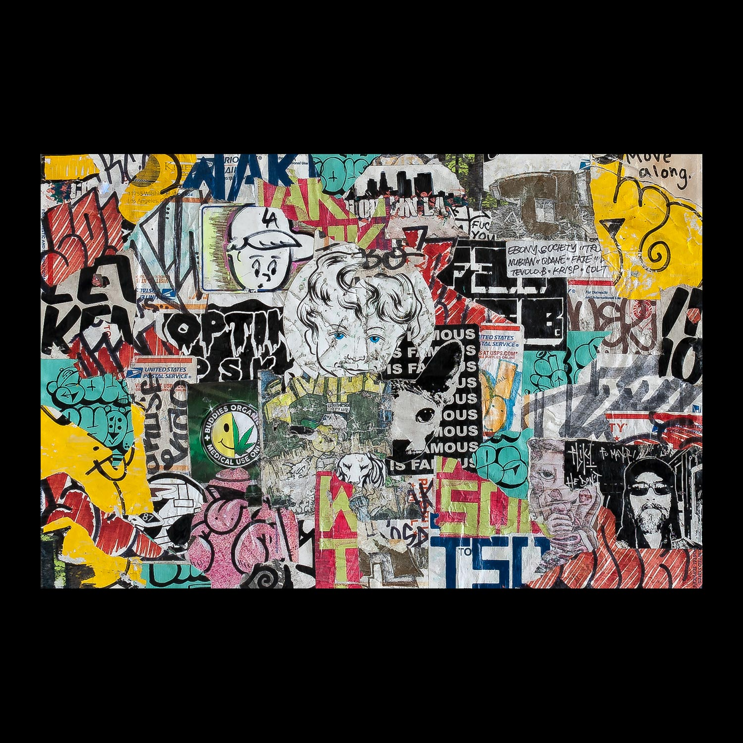 """Temple of Stickers: Los Angeles - Arts District - 18"""" x 12"""""""