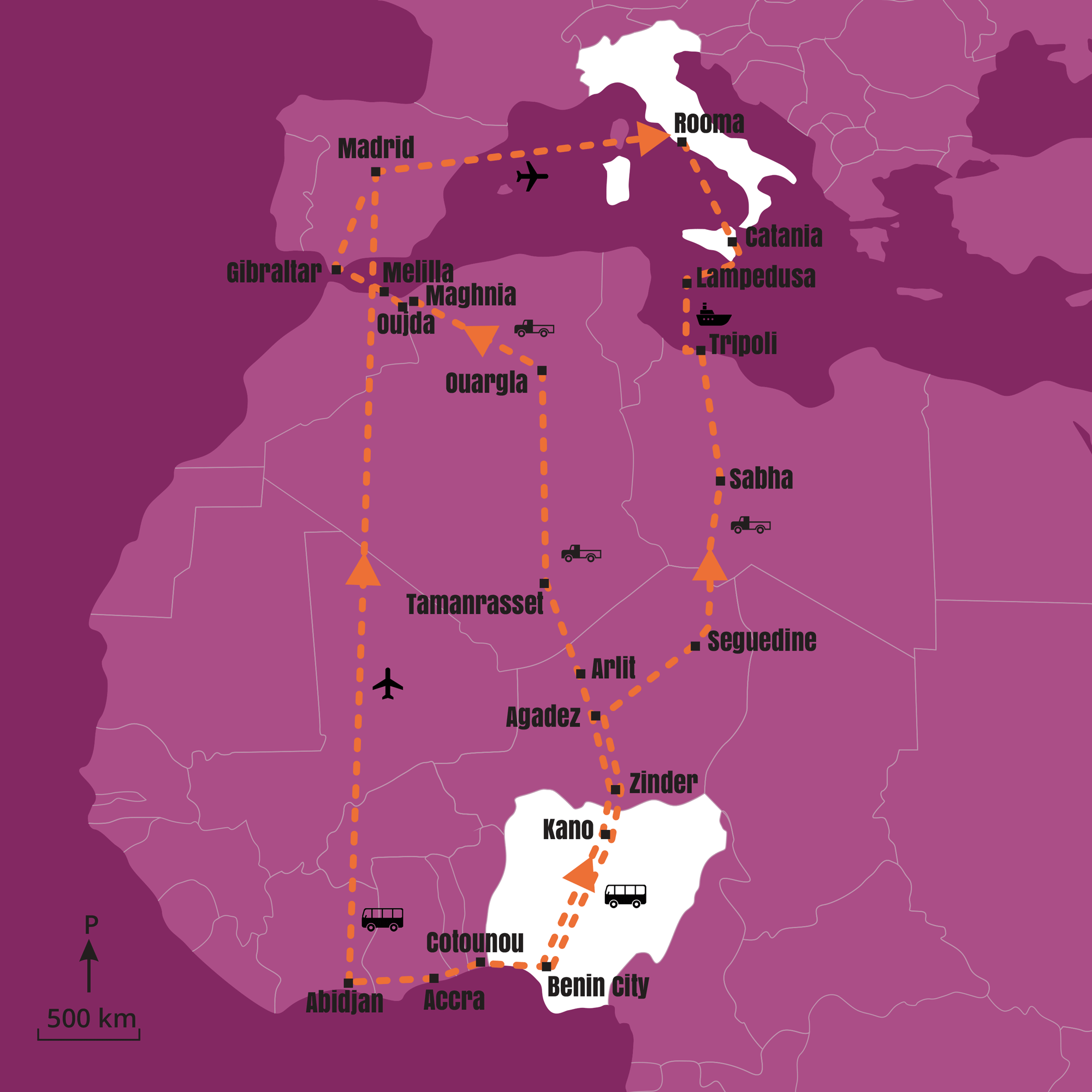 Nigeriasta Eurooppaan suuntautuvan ihmiskaupan reittejä. Kuvassa on esitetty kaksi yleisesti käytettyä reittiä Saharan poikki sekä Itohan Okundayen matka, jonka hän taittoi bussilla ja lentäen.
