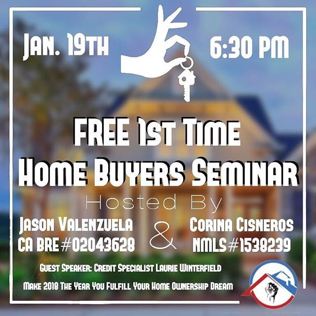 It's tax time.  Some of us hate tax time others love it and seeing those tax returns.  Have you ever thought of turning your tax money into a home?  This Friday the 19th at Union Strong Homeowners Jason Valenzuela and Corina Nicole will be hosting a Free 1st time home buyers seminar. 1150 W Center St. 105 Manteca Ca 95337  Interactive Homebuyers Seminar. 🏡 🔑 Great for first time buyers or anyone looking to purchase a new home and are interested in learning about the homebuying process. The seminar is open to the public. Learn about the many available programs and what you need to do to get started! ✅  Buying a home is one of the biggest financial investments you'll make in your lifetime. We will help prepare you!  We will have a Realtor, Loan Officer and Credit Repair Specialist available to speak with you as well as answer any questions you might have about the home buying process! 🤗 Let 2018 be the year you achieve your goal of becoming a homeowner! 🏡  We look forward to seeing you there!