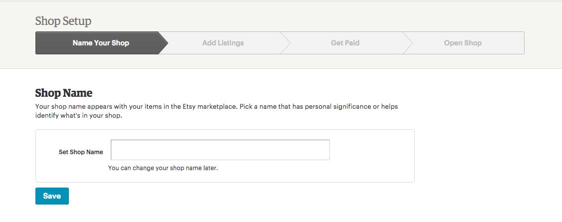 Etsy shop setup - name