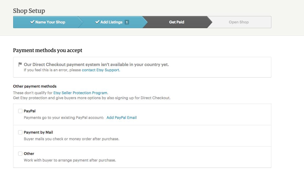 Etsy shop setup - payments