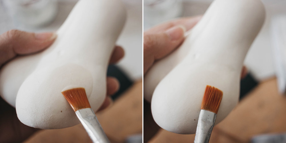 Water trick to smooth out the clay fibres and fluff by adelepo