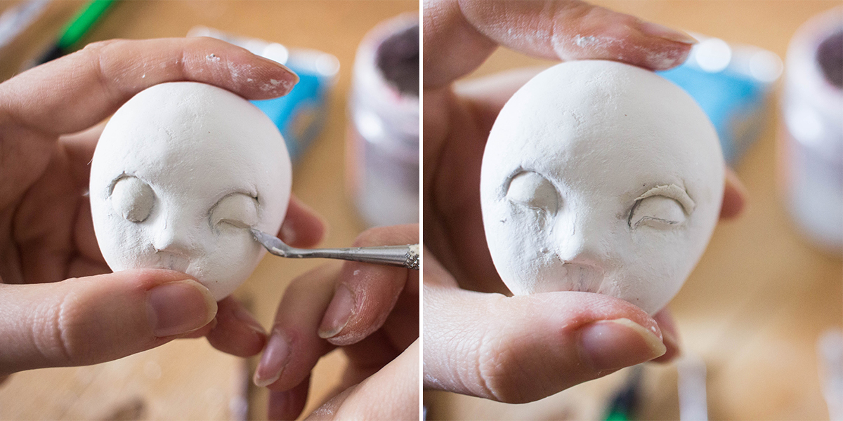Sleeping face sculpting tutorial by Adele Po.