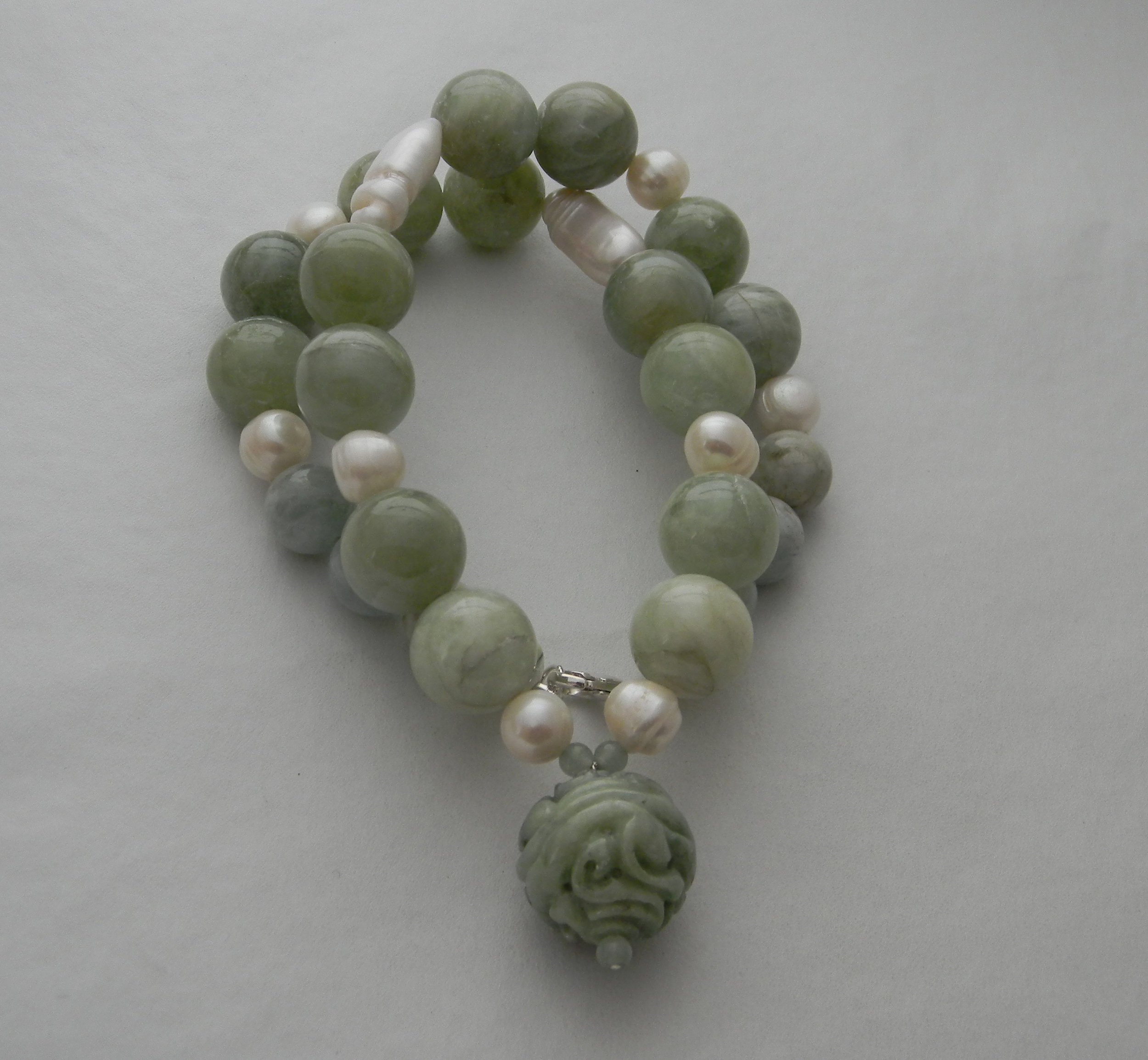 Green jade pendant on green aquamarine beads necklace & cultured pearl charms ,