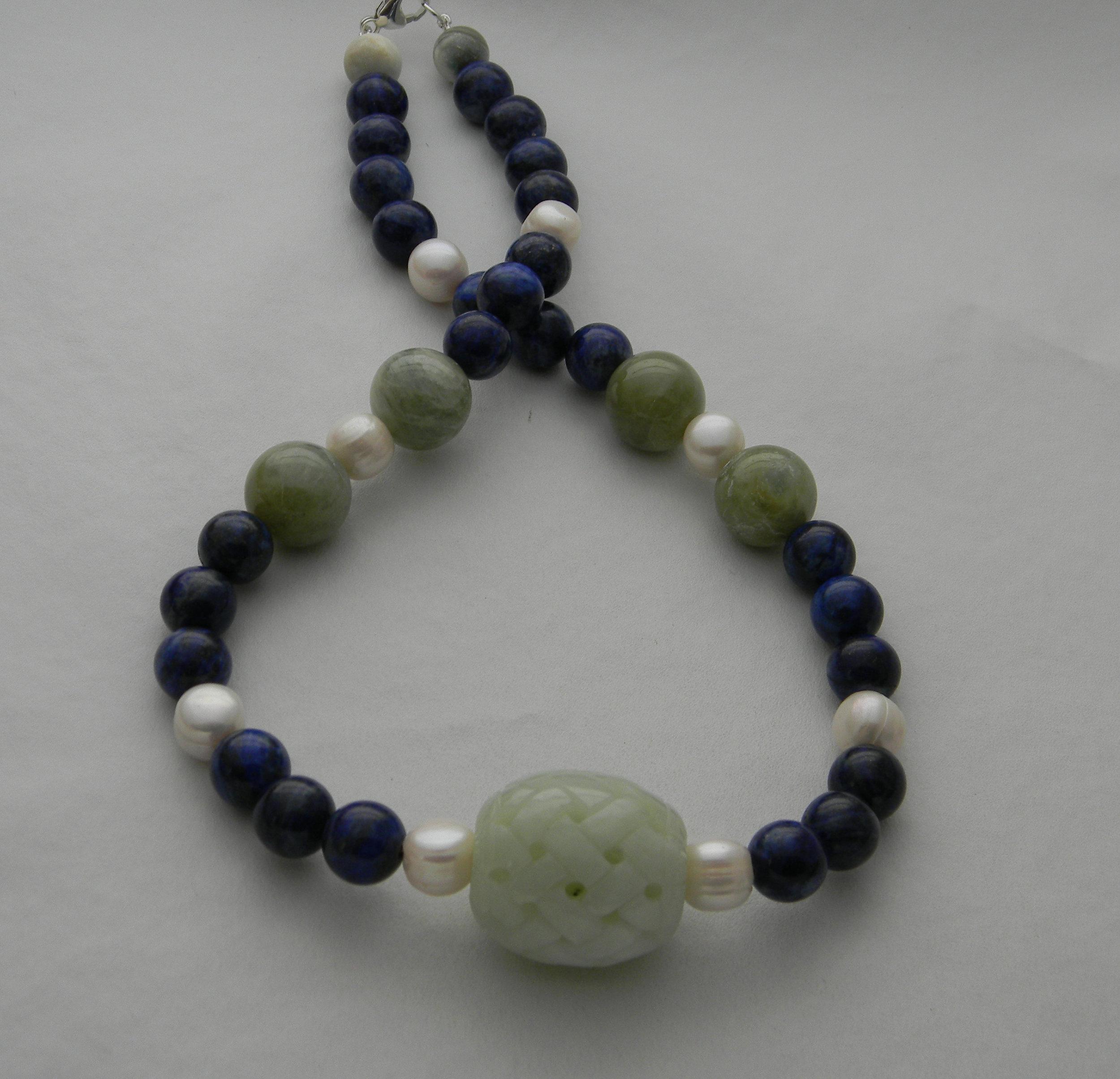Celadon Jade pendant on lapis & pearls beads necklace ,