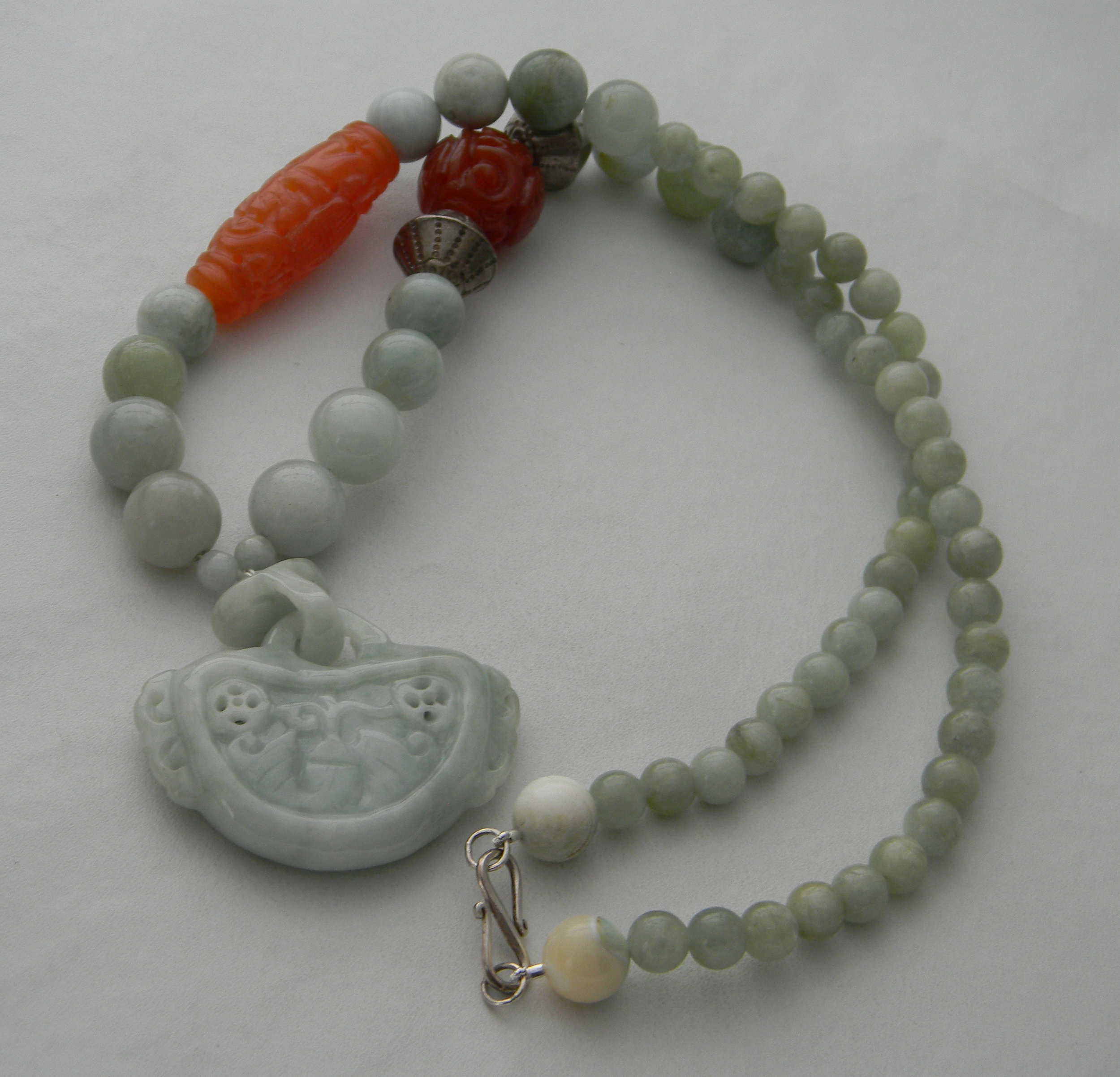 Light blue jade pendant on aquamarine beads necklace , Asian beaded necklace ,