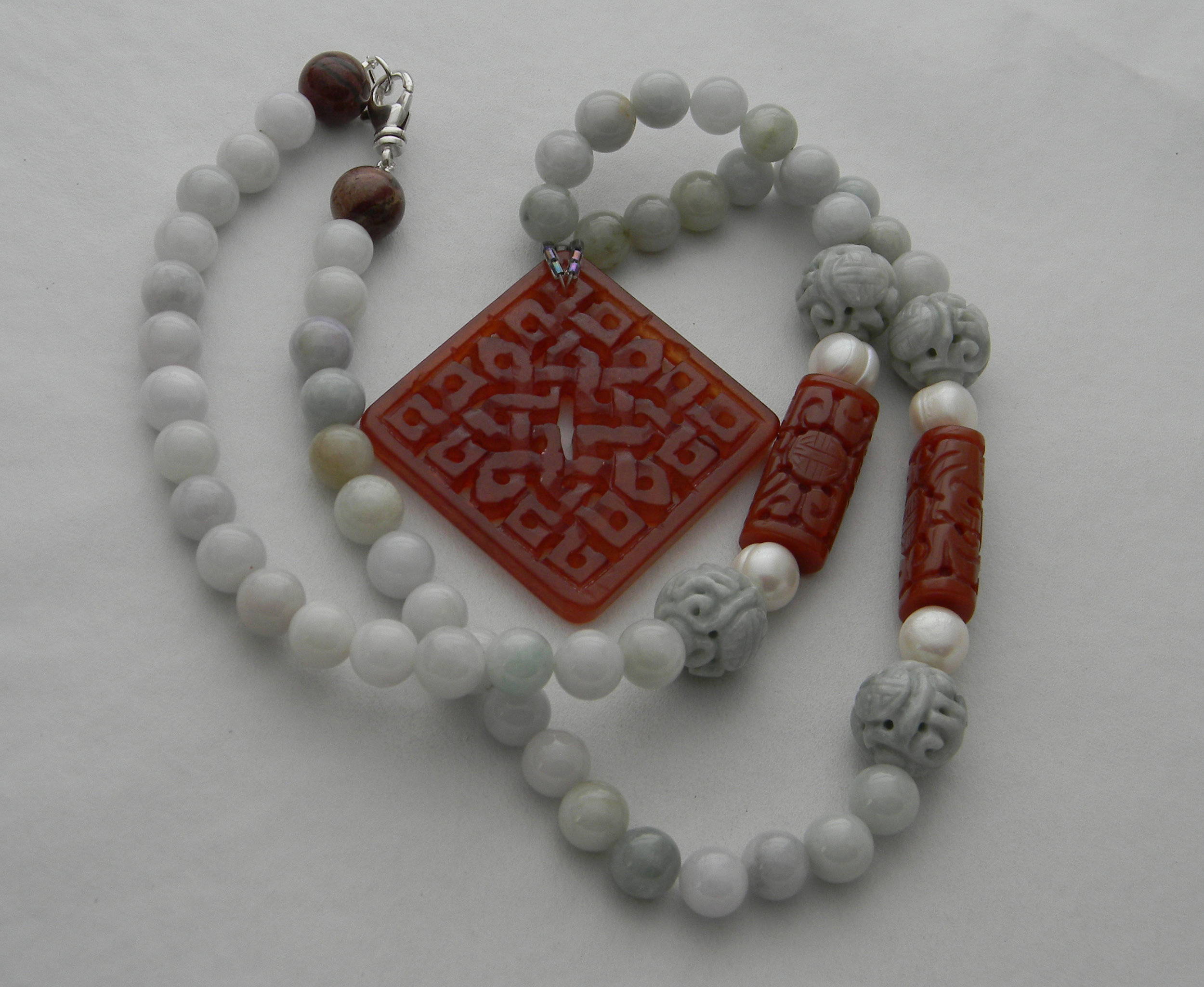 Carnelian pendant on light blue jade beads & carved charms necklace , square carved carnelian , rare find ethereal blue necklace , for women