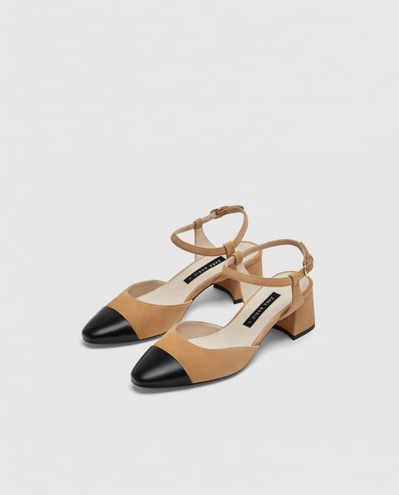 Zara Combined Mid-heel Leather Slingback Shoes
