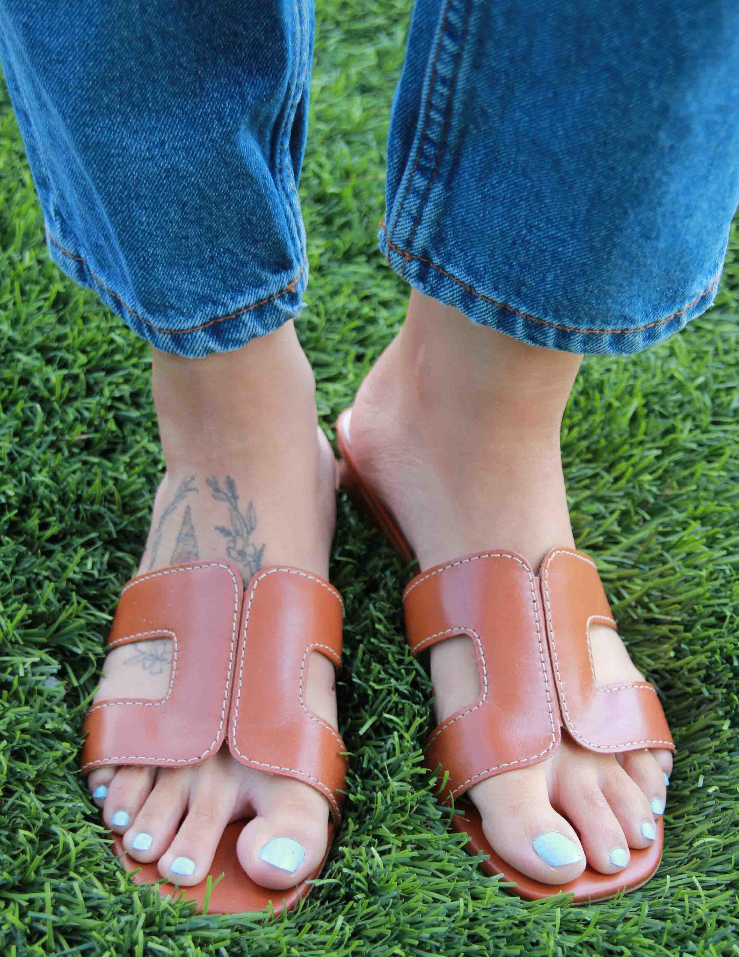 Me Wearing  Dune London Loupe Slider Sandal