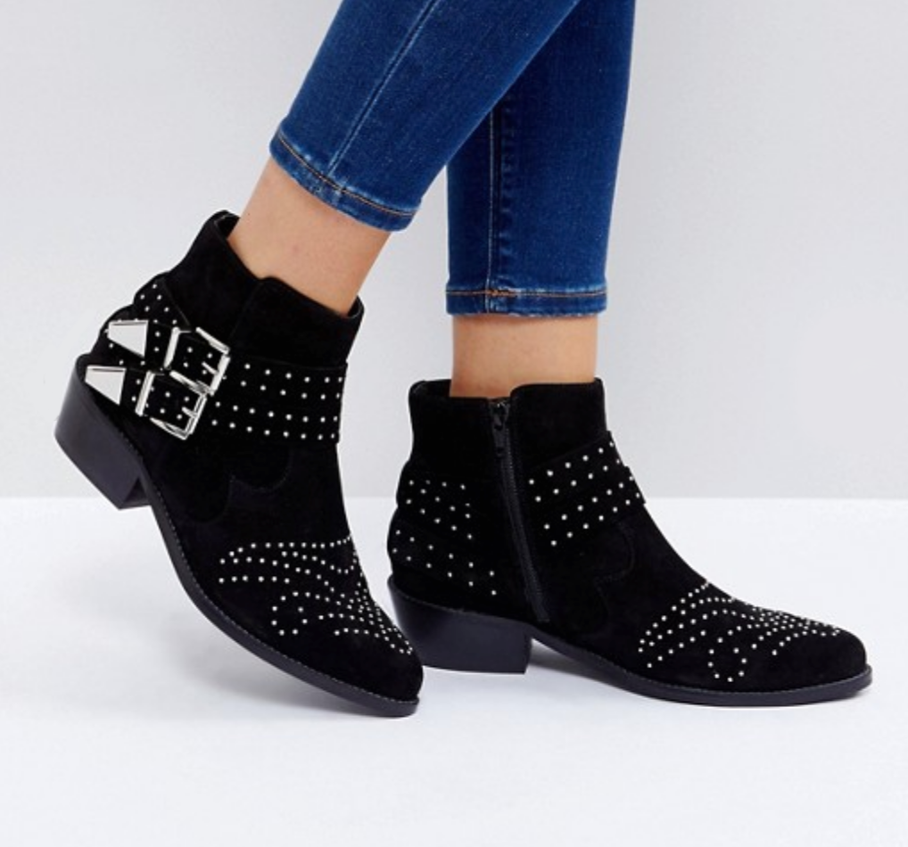ASOS ASHDEN Suede Studded Boots