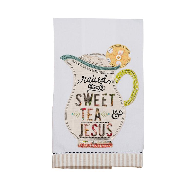 Raised on Sweet Tea and Jesus Tea Towel.JPG