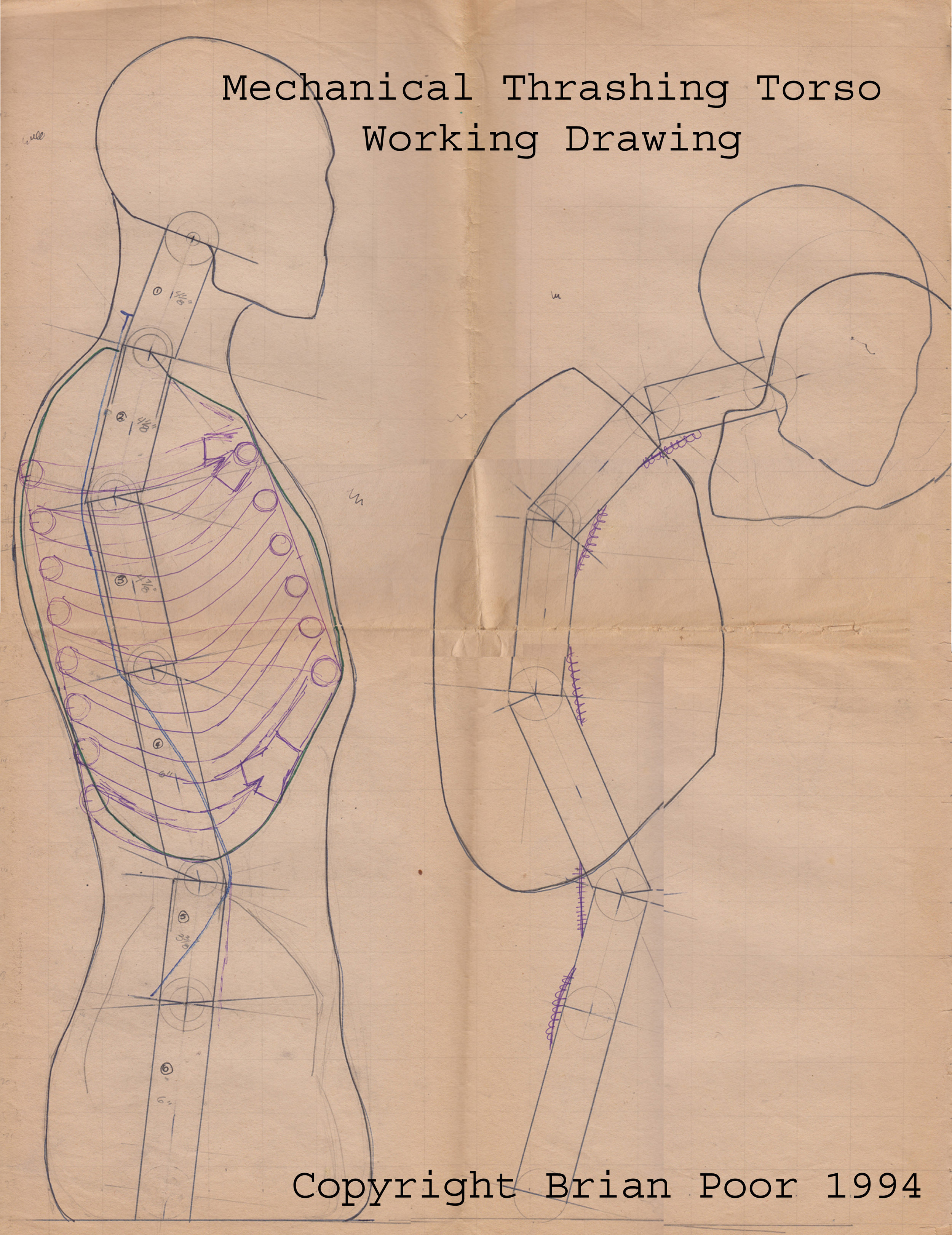 The original working drawing used in the construction of the Mechanical Thrashing Torso