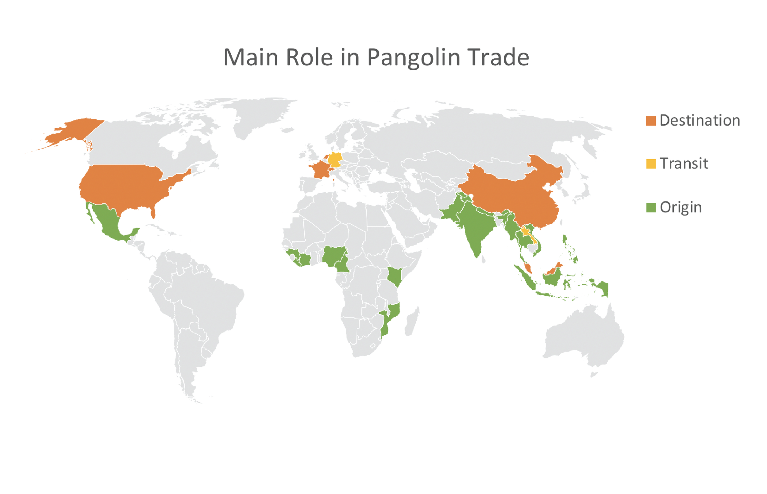 Map indicating the main role of which each country or territory was involved in pangolin trafficking.