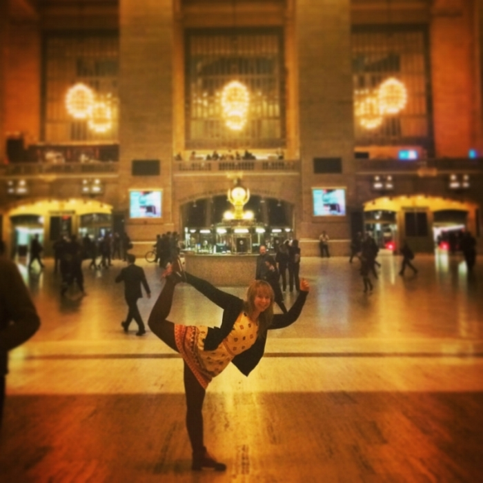 Because, who doesn't pull a yoga pose at Grand Central Station!