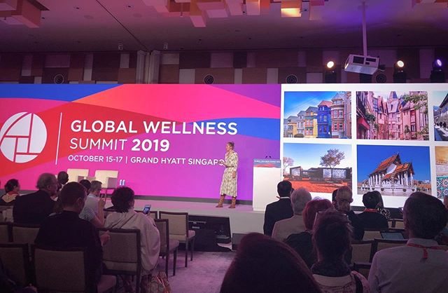 Veronica on stage presenting at the 2019 @globalwellnesssummit in Singapore! Thank you to the @global_wellness_institute for the opportunity to speak to this esteemed group about the impacts of Wellness Architecture. #globalwellnesssummit2019