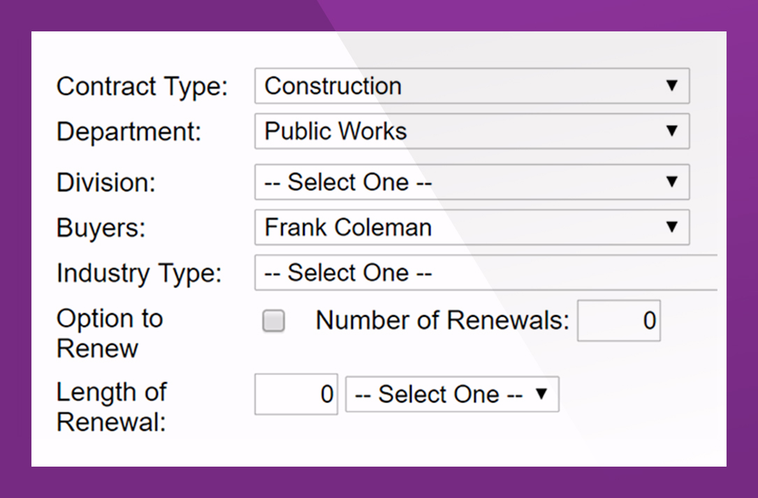 - Detailed contract profiles let you plan for contract renewals and terminations; track the original contract award and change orders to reflect contract value; manage all subcontractor participation as well as the D/M/WBE subcontractor goals and actual prime commitments.