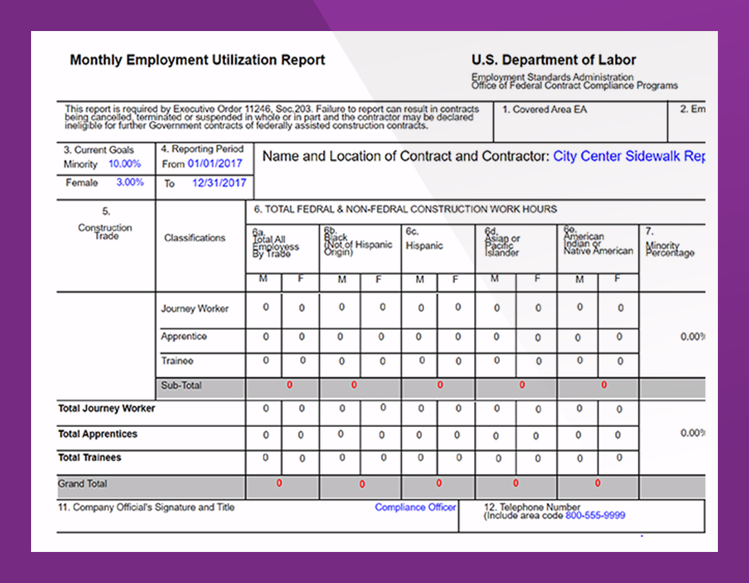 - Prepare standard Federal reports. Generate utilization trends by wages, zip codes, and employee craft and demographics. Extract certified payroll data to Microsoft Excel and XML for submission to external sources.