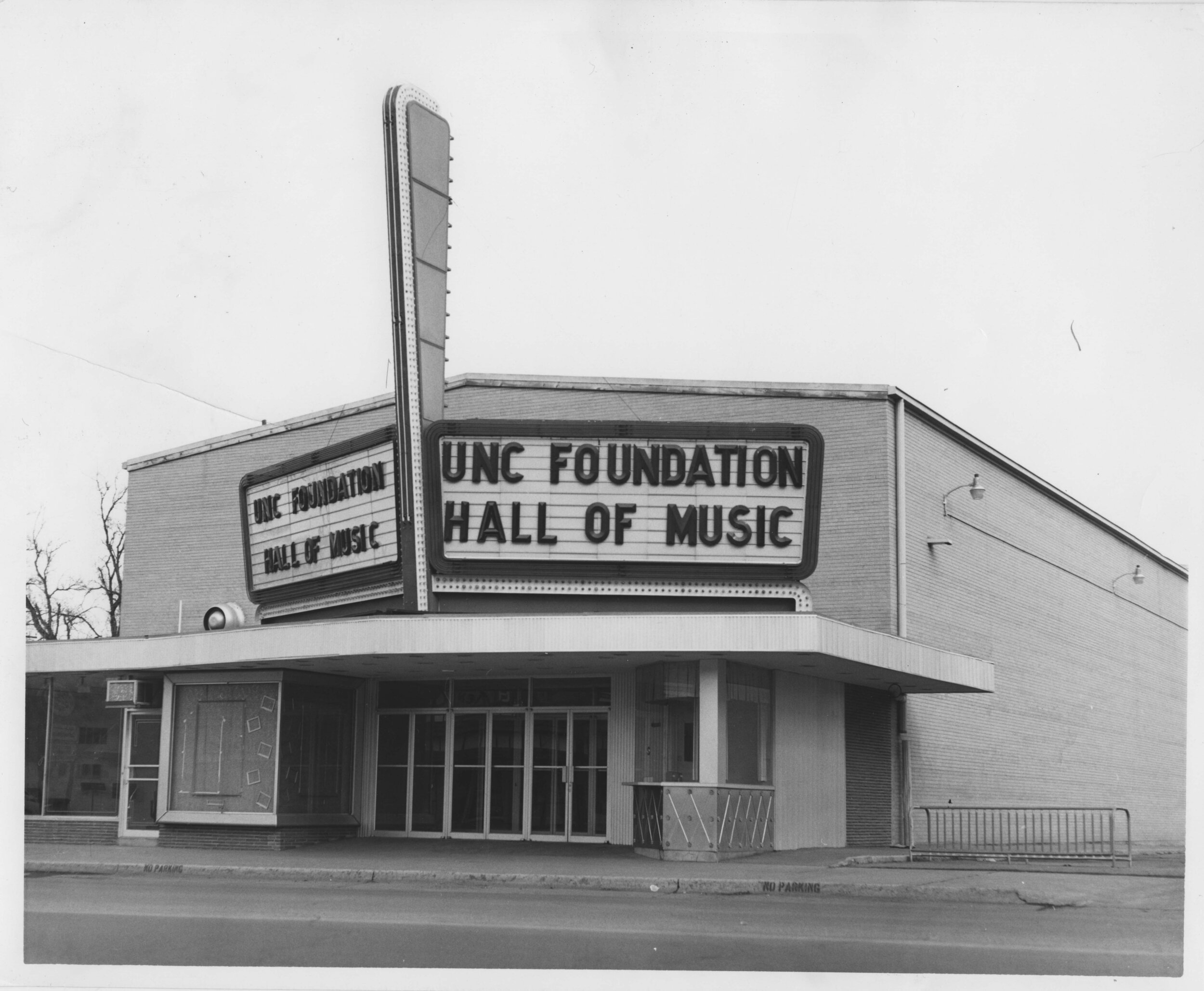 Foundation Hall, UNC - Original operated as the Colorado movie theater from 1957 until the mid-1970s, UNC re-dedicated the building as Foundation Hall in 1976. Since that time, university's music and opera programs have used the venue extensively. Also, from 1976 until 1988, Foundation Hall served as the primary home of the Greeley Philharmonic Orchestra. The opening of the Campus Commons in 2019 provided a new performance space for UNC's musicians and singers, bringing to an end the use of Foundation Hall. (Image use courtesy of Special Collections, Michener Library, University of Northern Colorado.)