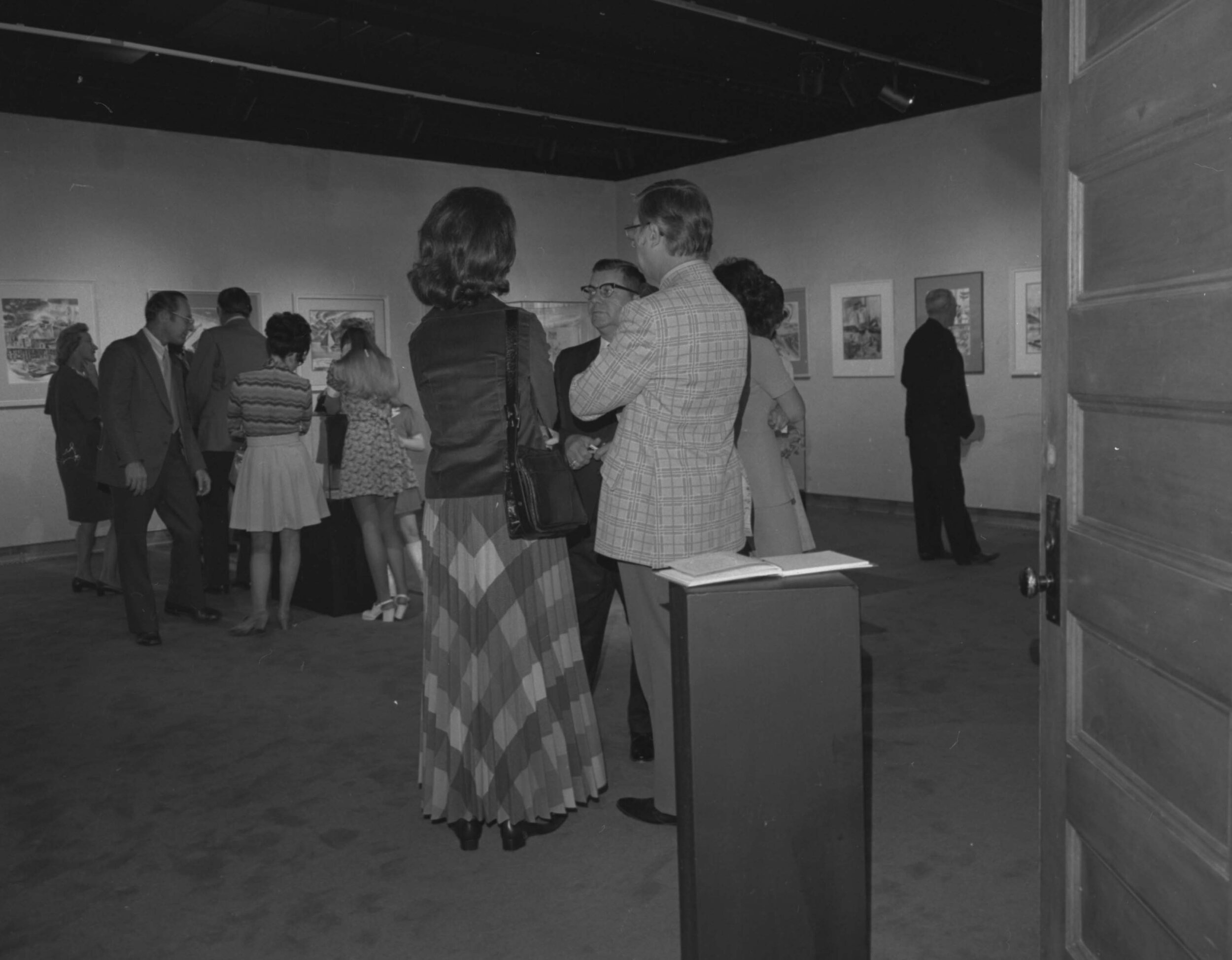 Mariani Gallery, Guggenheim Hall, UNC - The gallery opened in 1973, providing a space for student, faculty, and touring art exhibits. the above photo was taken during the Grand Opening event. (Image use courtesy of Special Collections, Michener Library, University of Northern Colorado.)