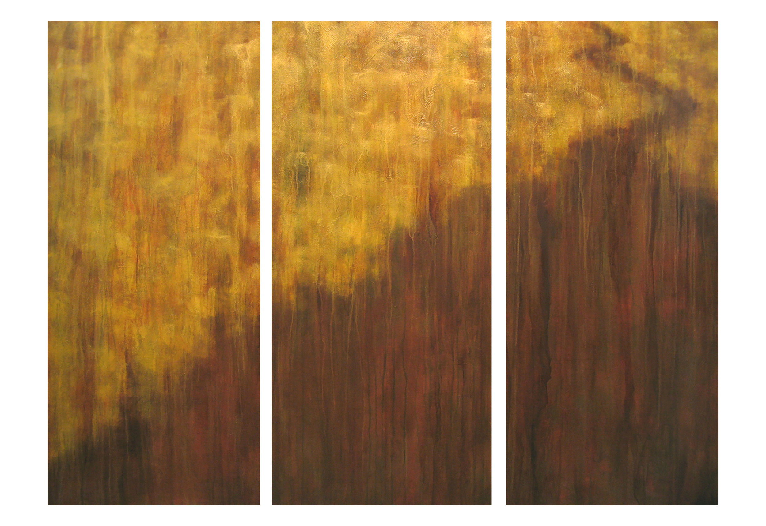 """To See One's Way  3 panels, 52""""h acrylic on hand-built canvas ©Karen Zilly  Site-specific commission for NYC client"""