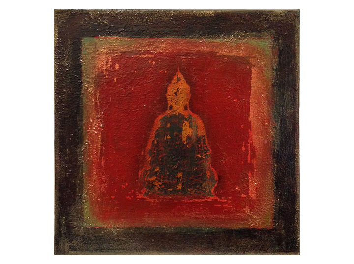 """Buddha: silhouette, red/black    12"""" x 12"""" acrylic on canvas ©Karen Zilly    SOLD"""