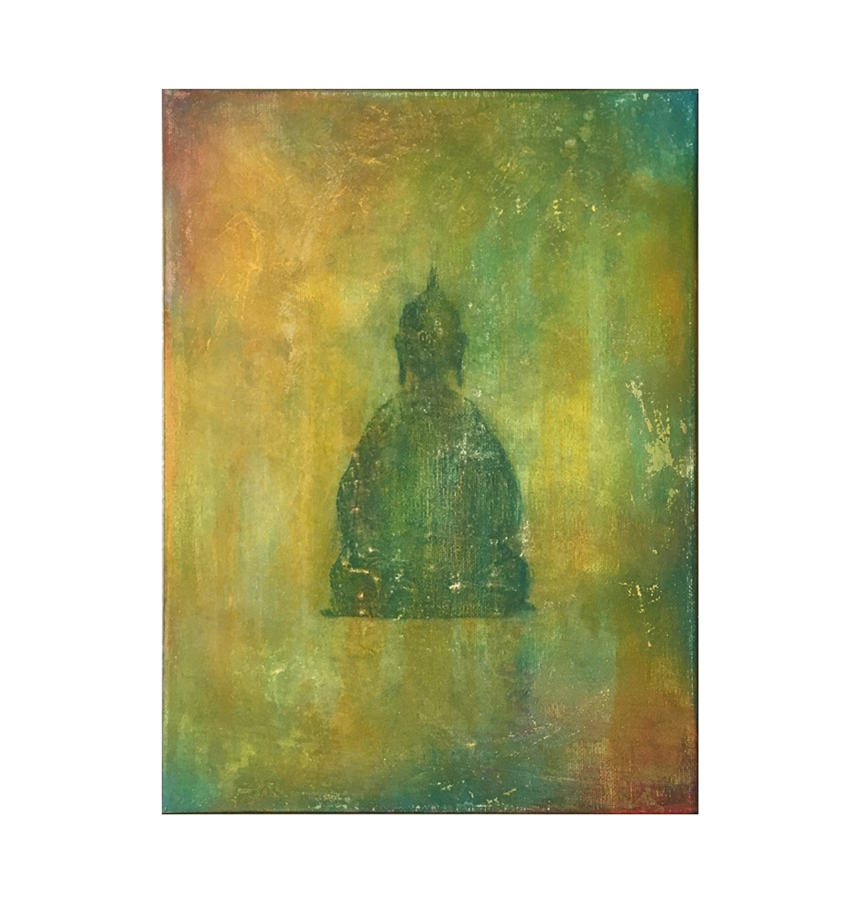 """Buddha: silhouette, multi      9"""" x 12"""" acrylic on canvas ©Karen Zilly       SOLD"""