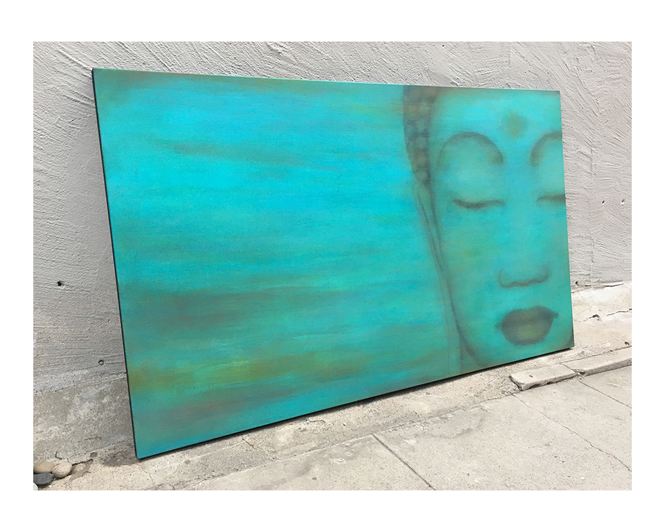 """Custom Buddha for client in FL.    36"""" x 60""""  inspired by previous work  acrylic on hand-built canvas ©Karen Zilly    SOLD"""