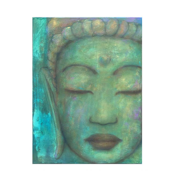 """Blue Guan Yin  18"""" x 24"""" acrylic on lightweight canvas ©Karen Zilly  SOLD"""
