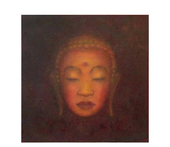"Buddha  24"" x 24"" acrylic on canvas ©Karen Zilly   SOLD"