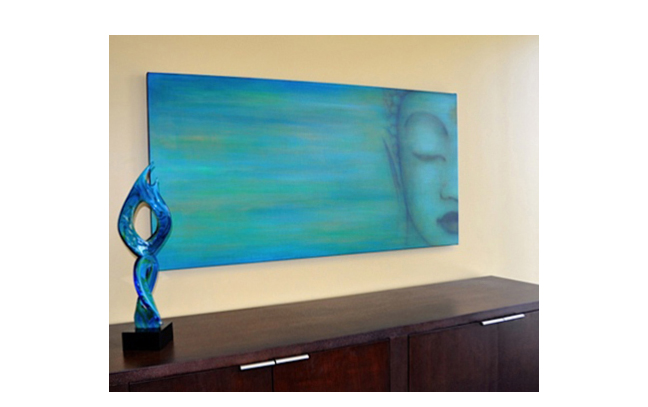 """Custom Buddha for client in CA.  30"""" x 60""""  inspired by previous work  acrylic on hand-built canvas ©Karen Zilly    SOLD"""