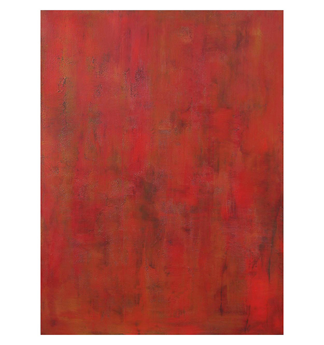 """Sraddha, red, 1  36"""" x 48"""" acrylic on hand-built canvas ©Karen Zilly  SOLD"""