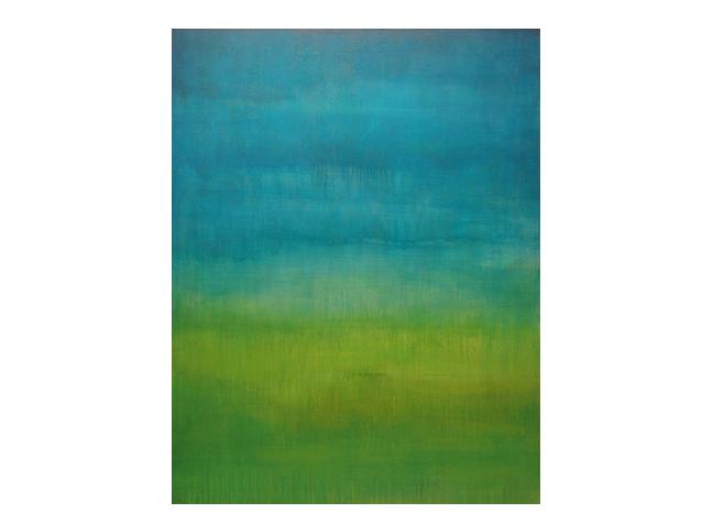 "Custom color-block landscape  36"" x 48"" acrylic on hand-built canvas ©Karen Zilly  SOLD"