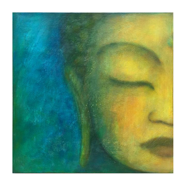 "Metta study, 3     18"" x 18"" acrylic on canvas ©Karen Zilly     SOLD"