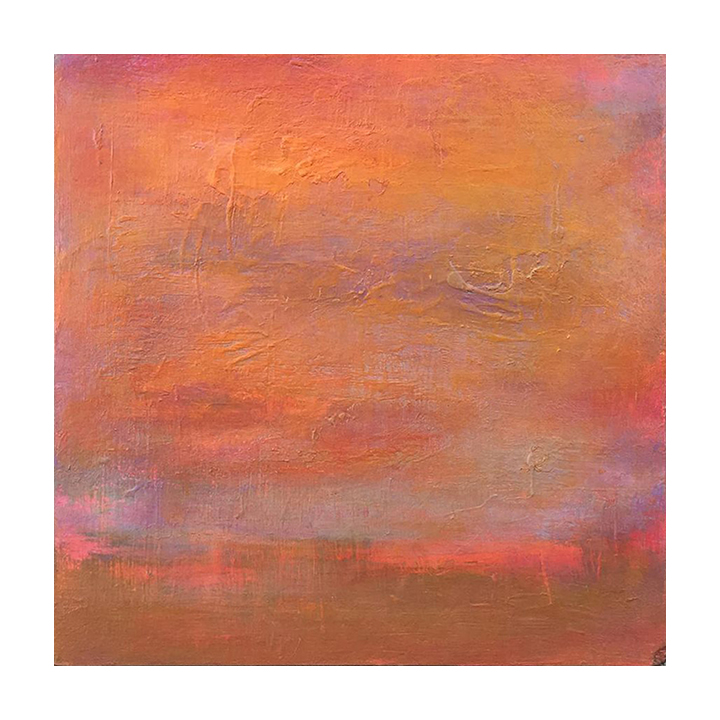 """Sunset Study, 1  12"""" x 12"""" acrylic on reclaimed panel ©2018 Karen Zilly  SOLD"""