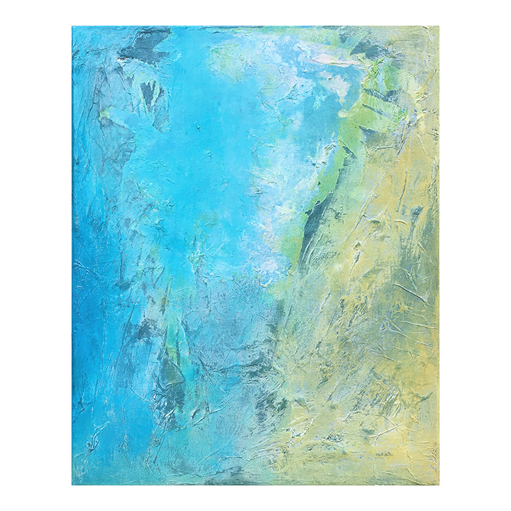 "Drifting  coastal aerial study     mixed media on canvas, 16"" x 20"" horizontal or vertical ©Karen Zilly     SOLD"
