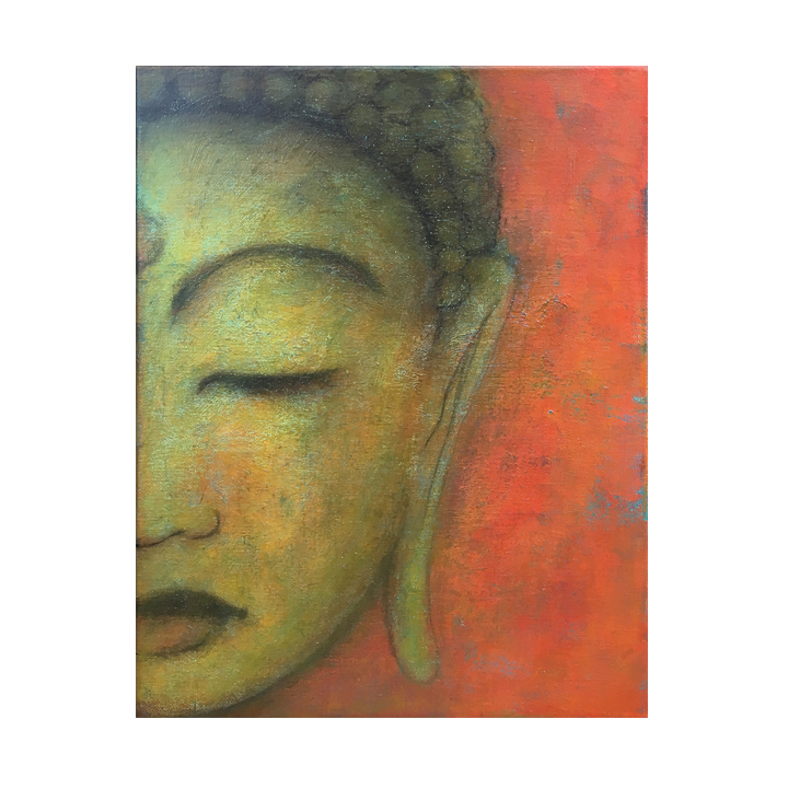 """Metta study, red, 2     Sketch with dry layering and textural markings throughout the surface. A classical style Buddha set into a mix of warm and cool tones. A bright area is recommended to bring out the saturated tones of this piece.     11"""" x 14"""" acrylic on canvas ©Karen Zilly     Slim profile with dark finished edges. Subtle UV varnish for surface protection and color longevity. Signed on back. Ready to hang.     Sale price: $85 / On Etsy. See link in menu. Contact the studio with your offer or inquiry."""