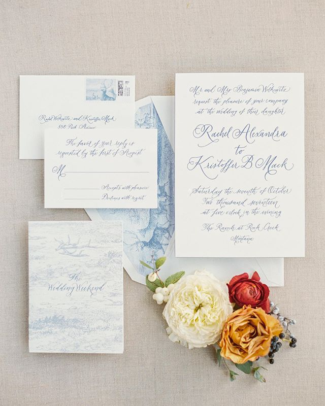 Fall is in the air around the ranch this weekend so I'm sharing one of my all time favorite suites from a fall wedding.  Engraved invitations with classic calligraphy and a vintage illustration for the liner. Invites were completed with painted, beveled edges, as well as inner and outer envelopes, formally addressed to guests. All other materials were designed based off of the invite for a cohesive weekend! (Weekend brochures, programs, maps, menus etc.) Printed by @printeryoysterbay, photographed by @orangephotographie  Wedding weekend designed and executed by the amazing @greenwoodevents at @theranchatrockcreek