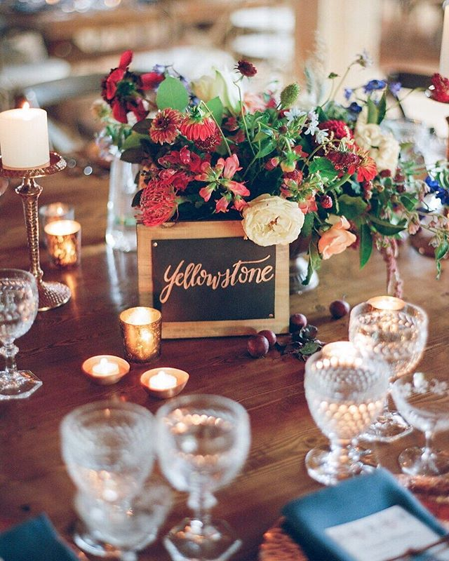 Just a little wedding jealousy over here. Leather, copper and wood table names of each of the bride and groom's favorite national parks. The place cards were also leather with copper calligraphy. • This incredible wedding was featured in @marthastewartweddings magazine in spring 2017. So much color and character! • Working with the best: Planning, Florals & Design- @greenwoodevents @ardengreenwood Photography- @shannonvoneschen Table Top Rentals - @thetoprentals Bride- @emilyhormuth