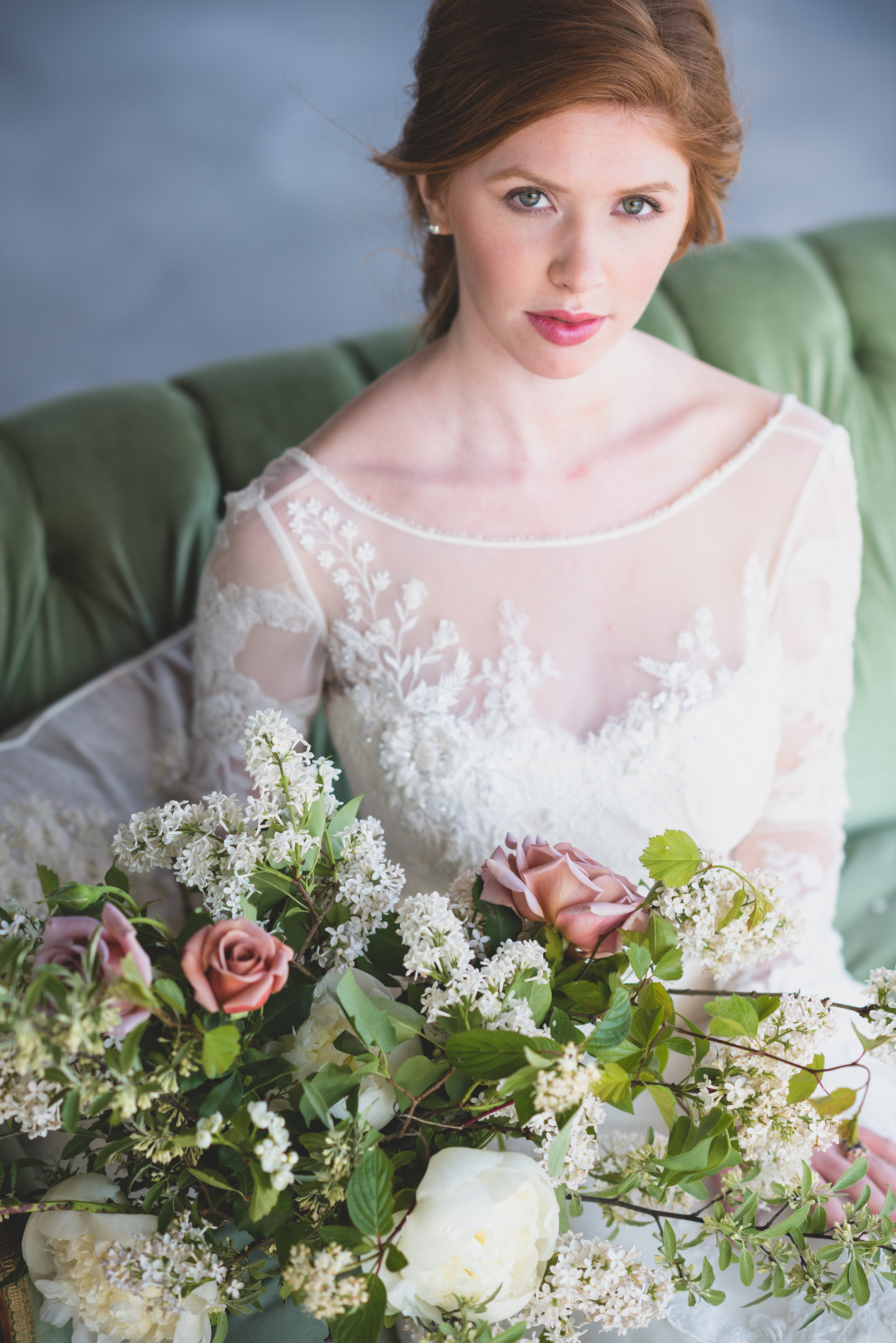Devon C Photography . Jayne West Photography . Model Meaghan Dietrich of Cameo Models & Sherrida Models . Brantview Events Pavilion . Florals & Styling La Petite Fleur . Rentals & Styling Warehouse 84 . Hair by Teased Bridal . Gown Second Dance Bridal