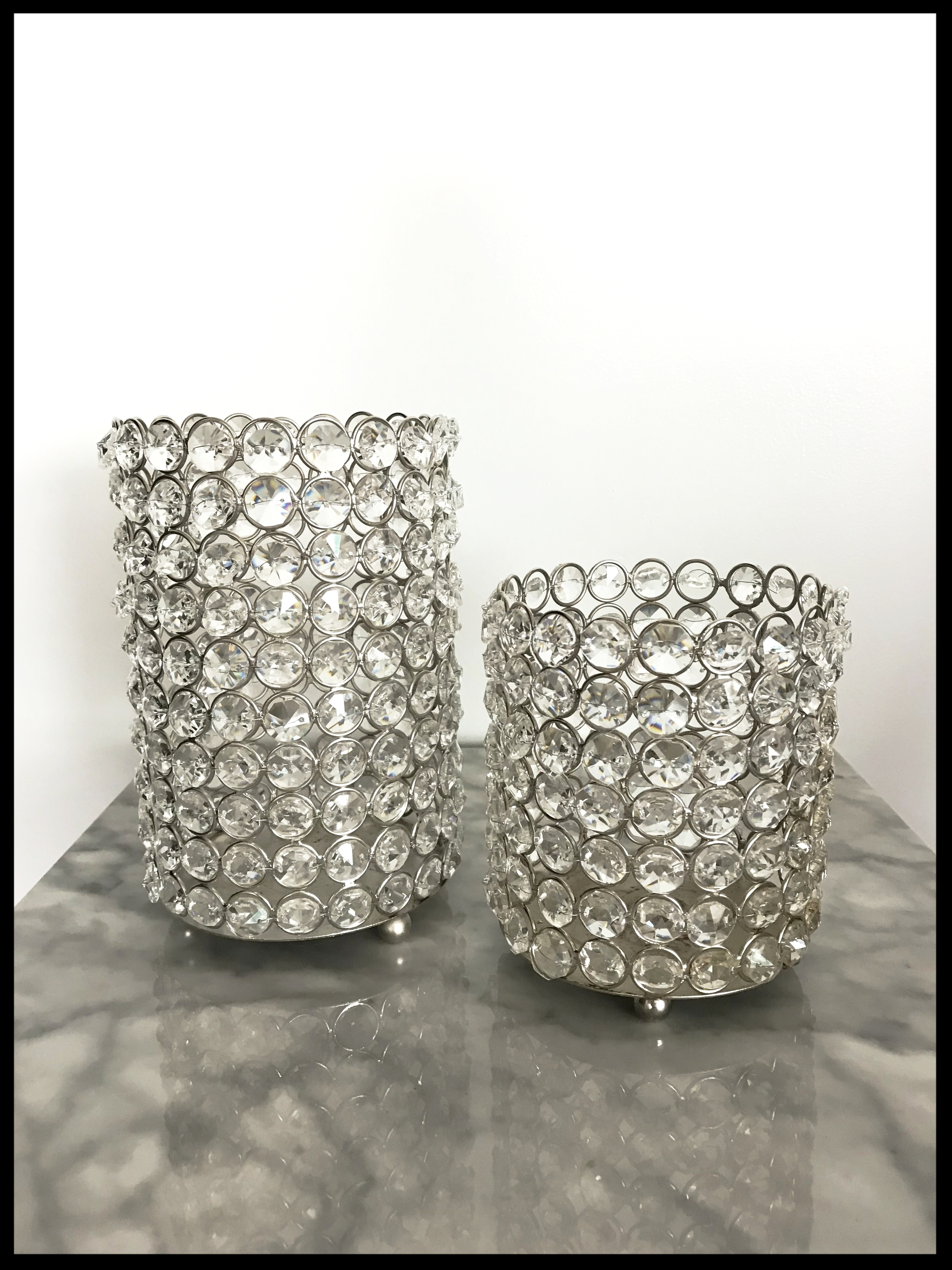 Crystal Pillar Votive Holders (also available in gold)