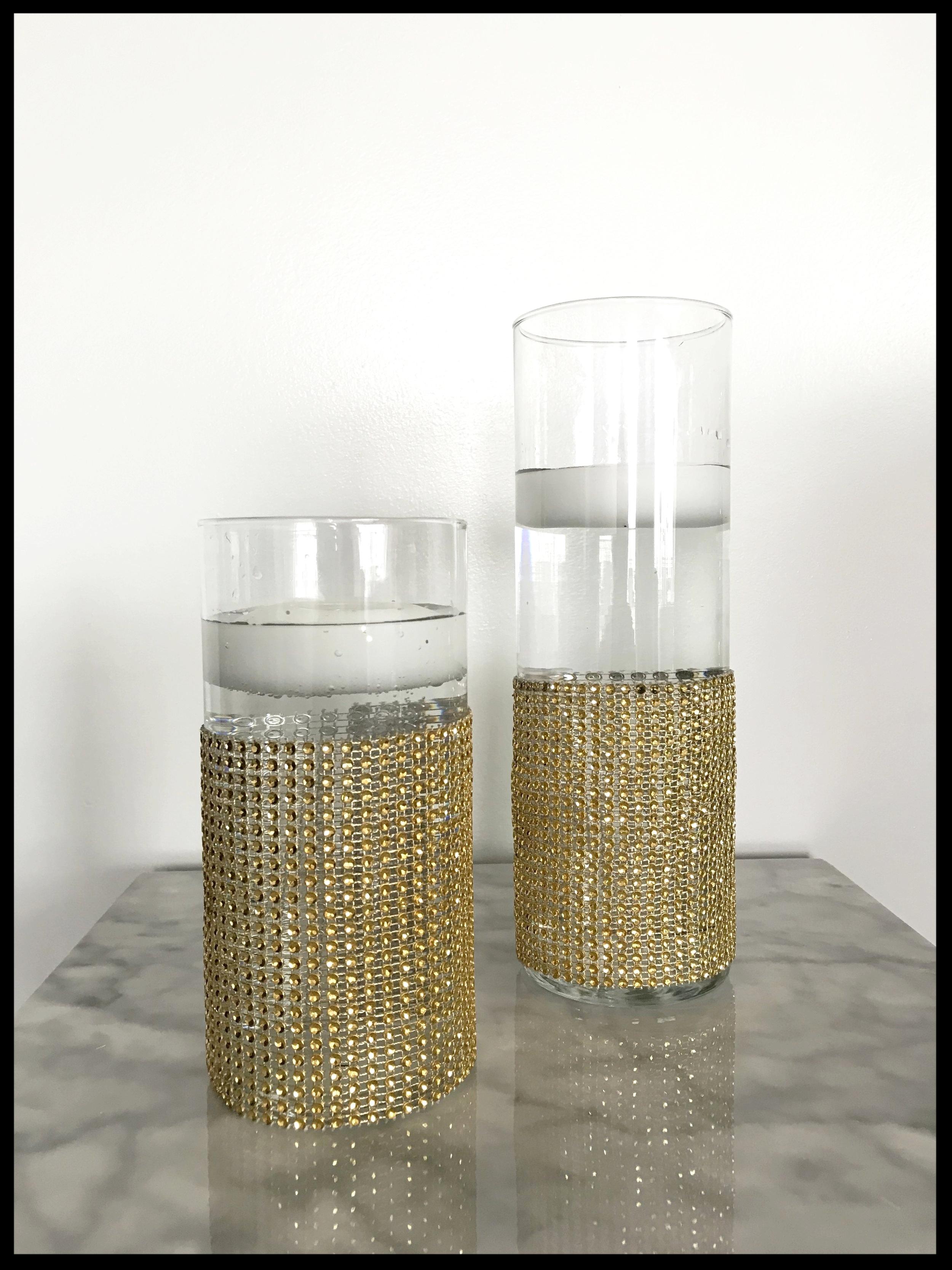 Gold Bling Cylinder Vase
