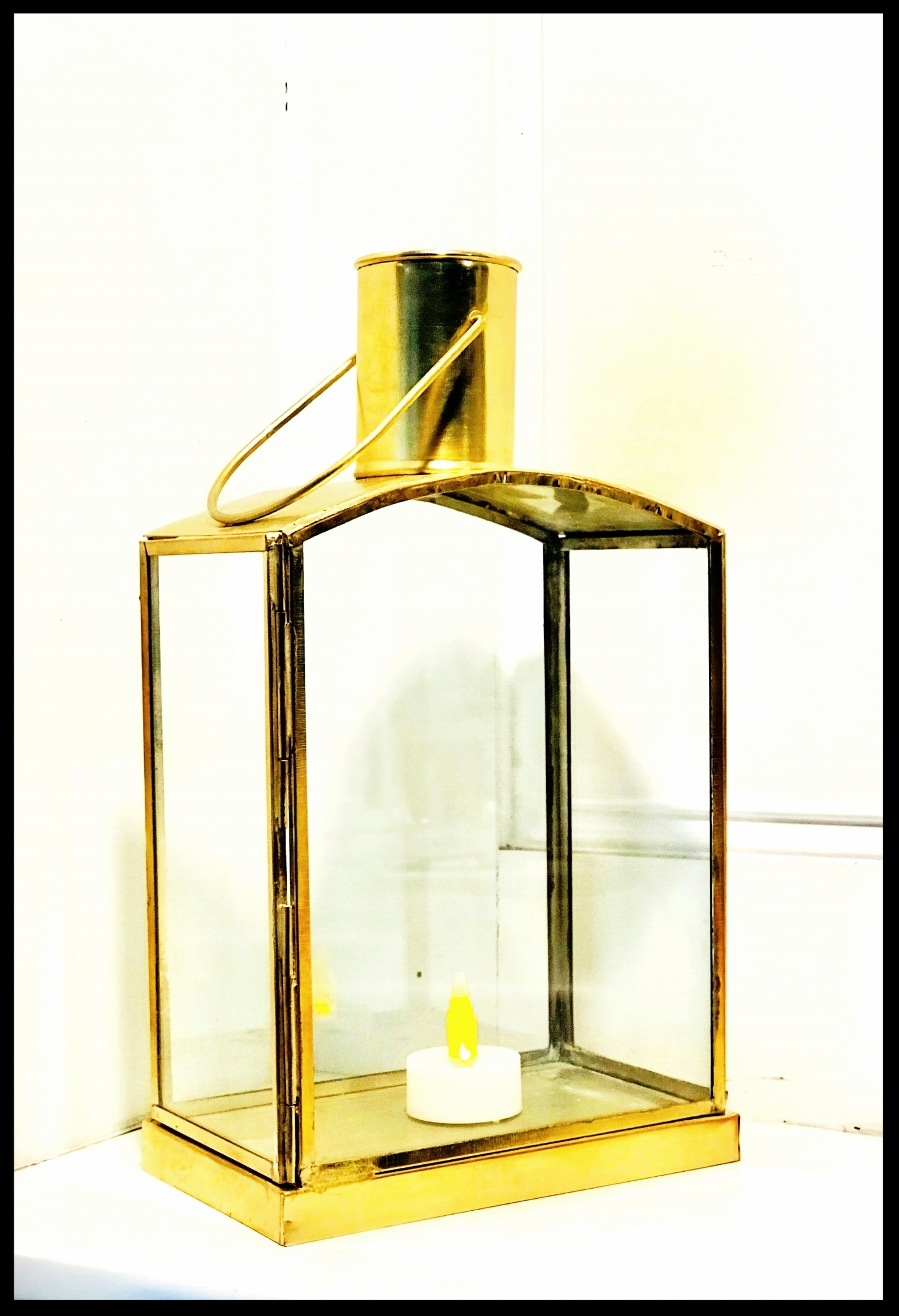 Gold Lantern with Glass Sides