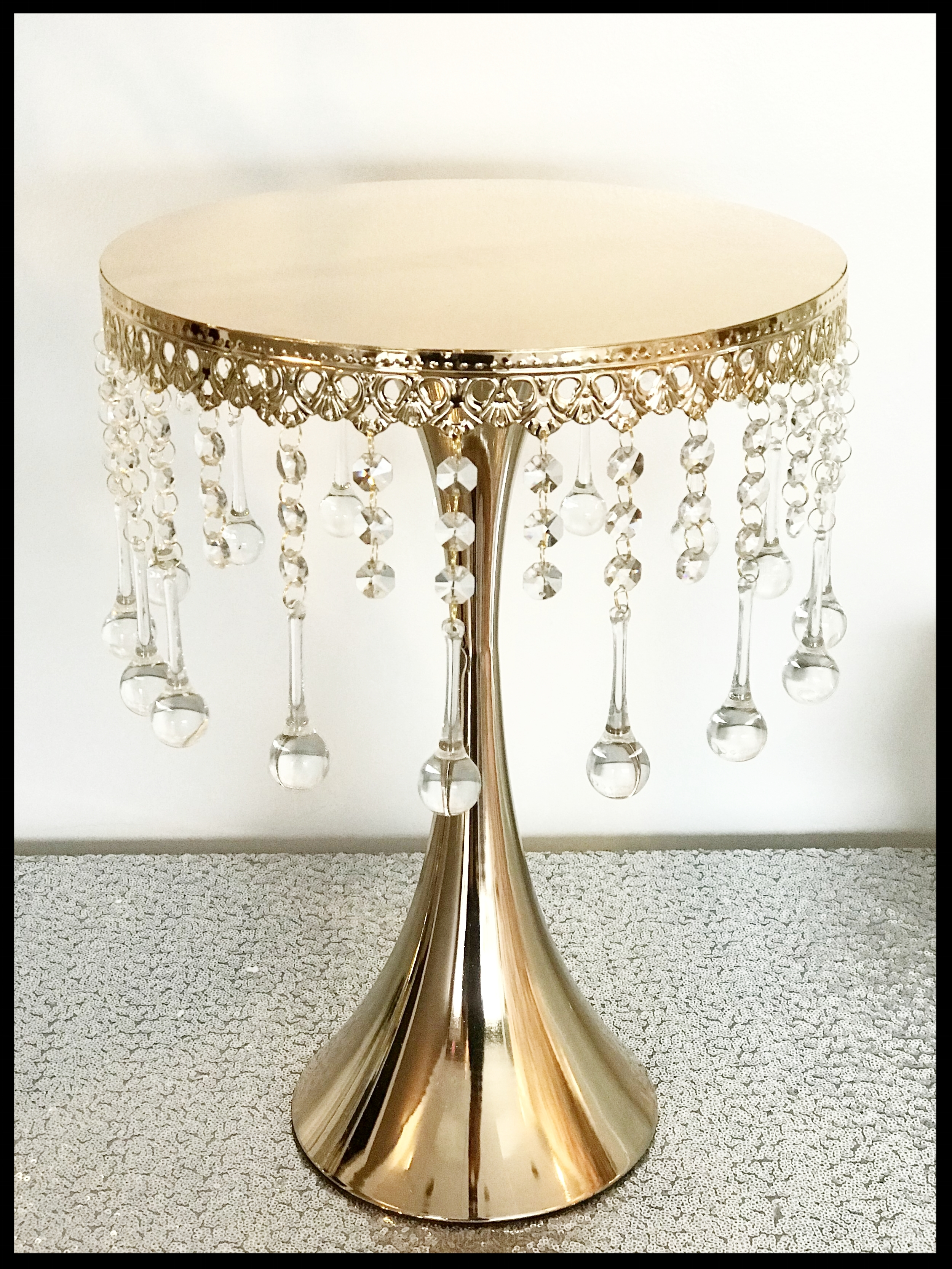 Crystal Drop Golden Cake Stand