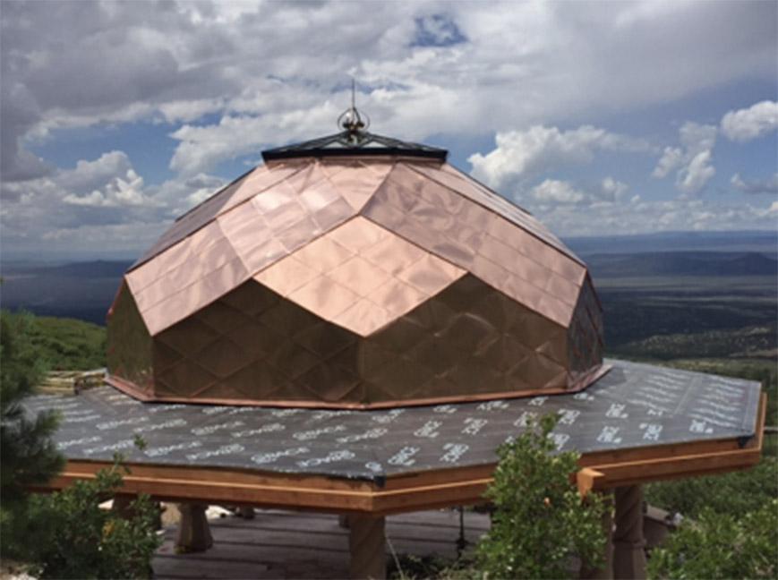 Handmade copper shingle roof