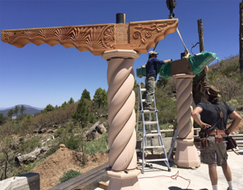 Columns and braces going up