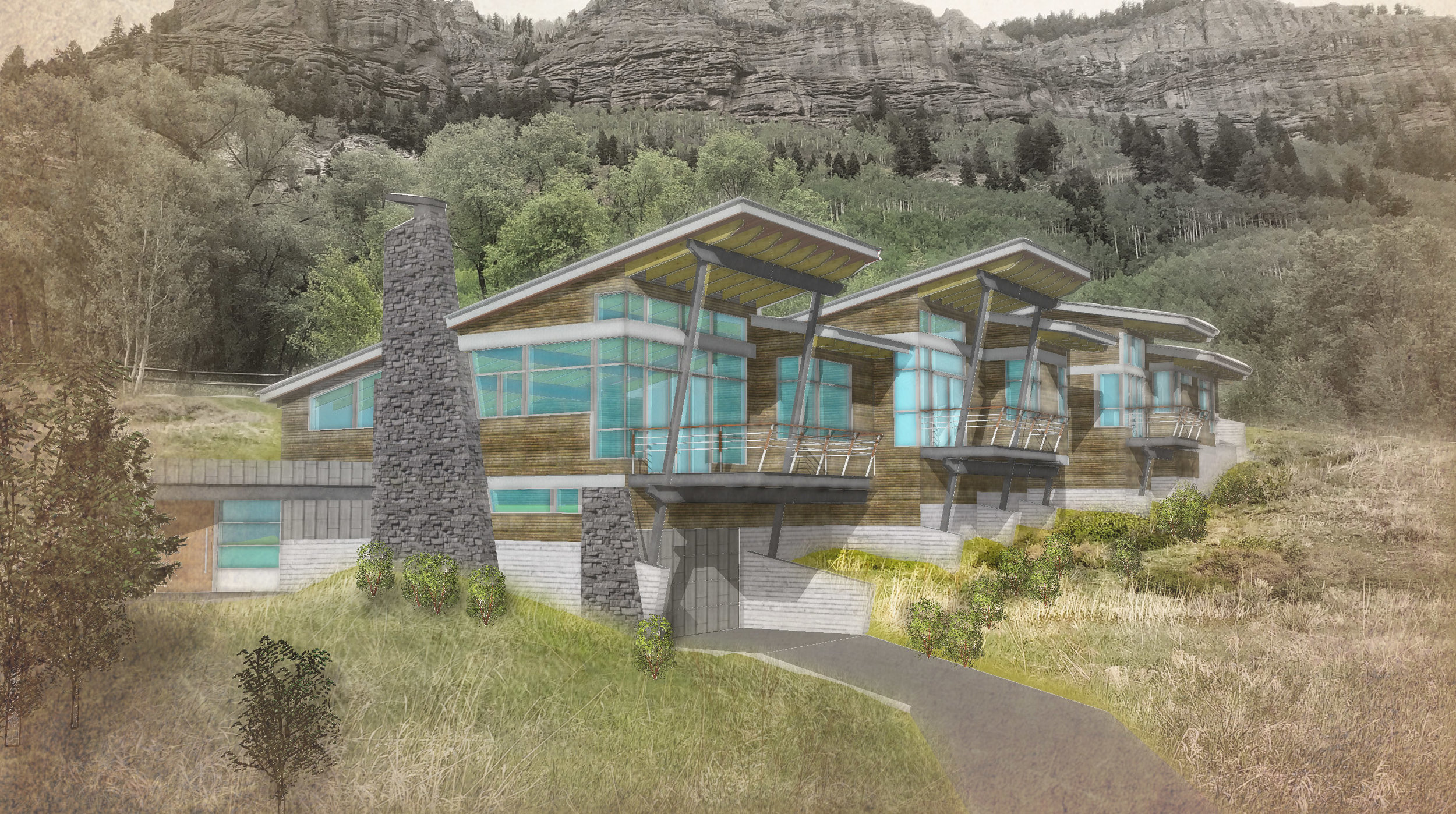 So-Inclined; Telluride Colorado. The Design and Rendering by Designworks, check back for completed images.
