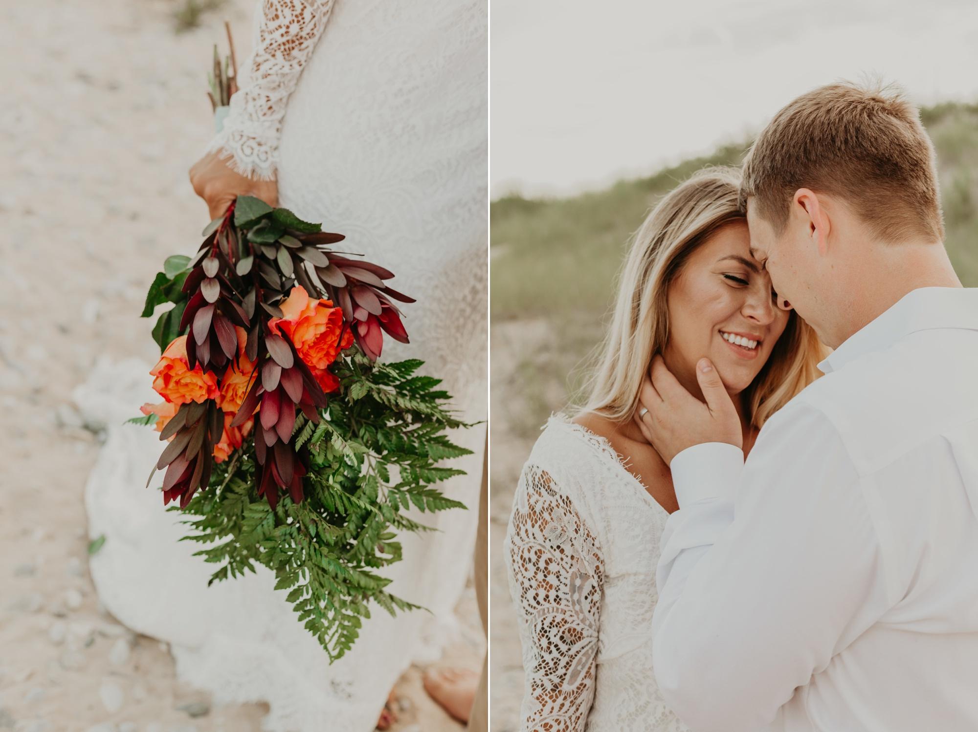 Petoskey elopement photographer. Lake Michigan beach portraits.
