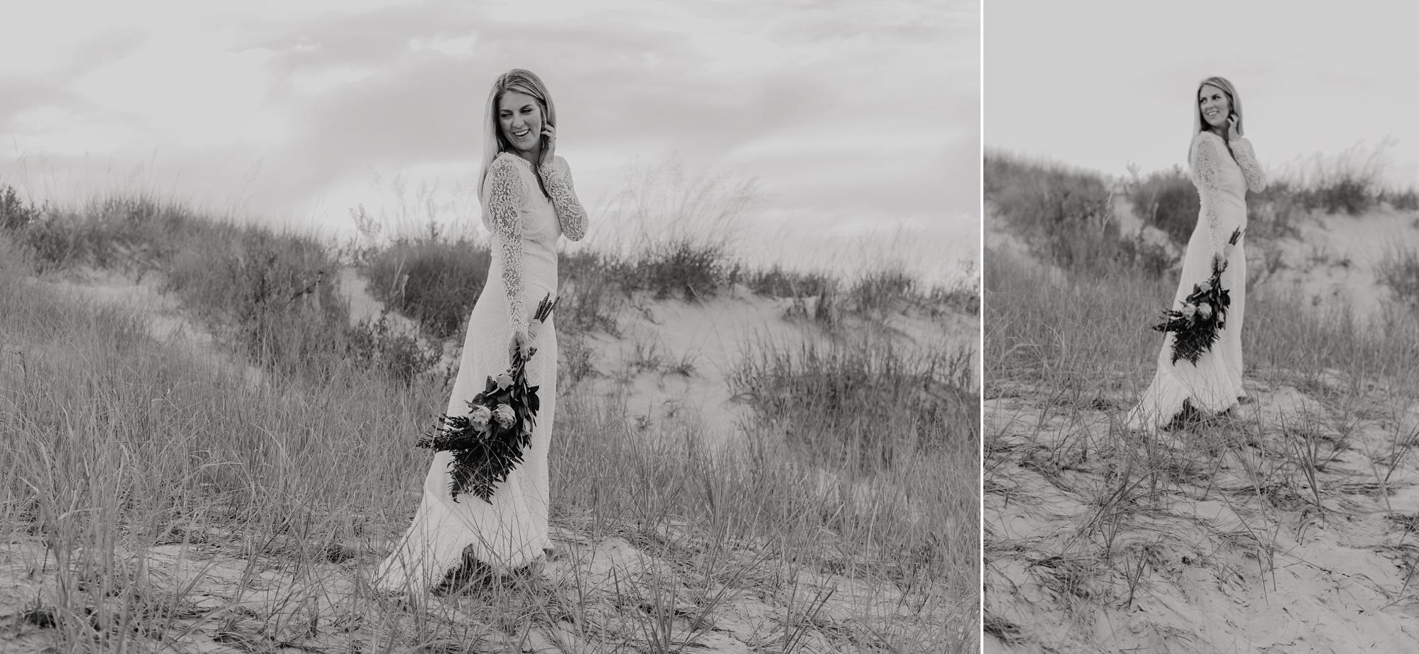 Romantic sunset elopement in Petoskey. Portraits of bride.