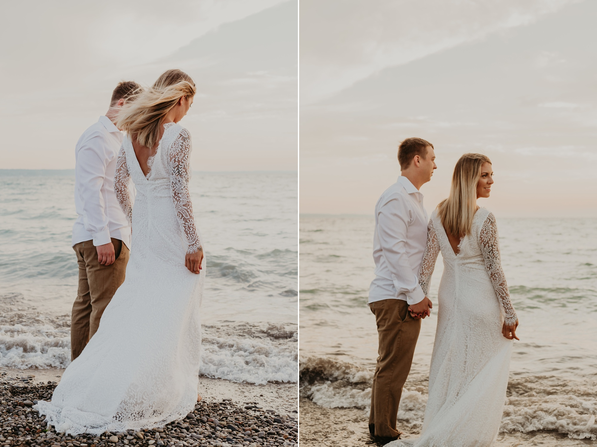 Lake Michigan beach elopement. Bride and groom by the lake.
